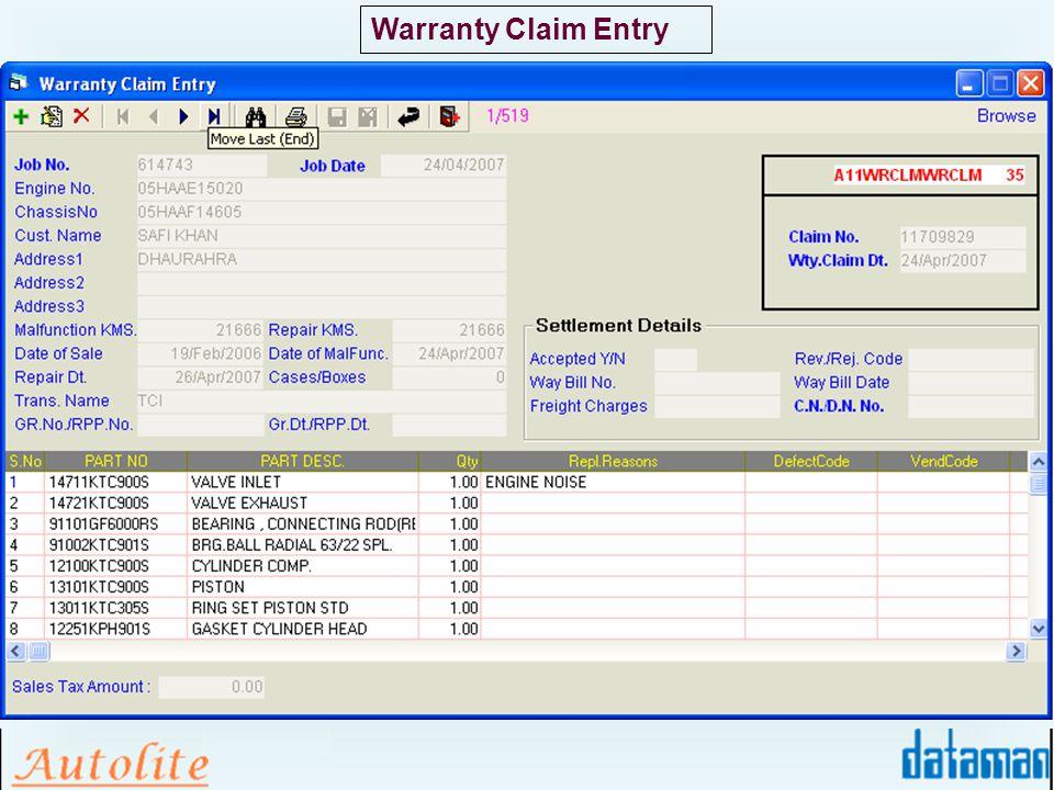 Warranty Claim Entry
