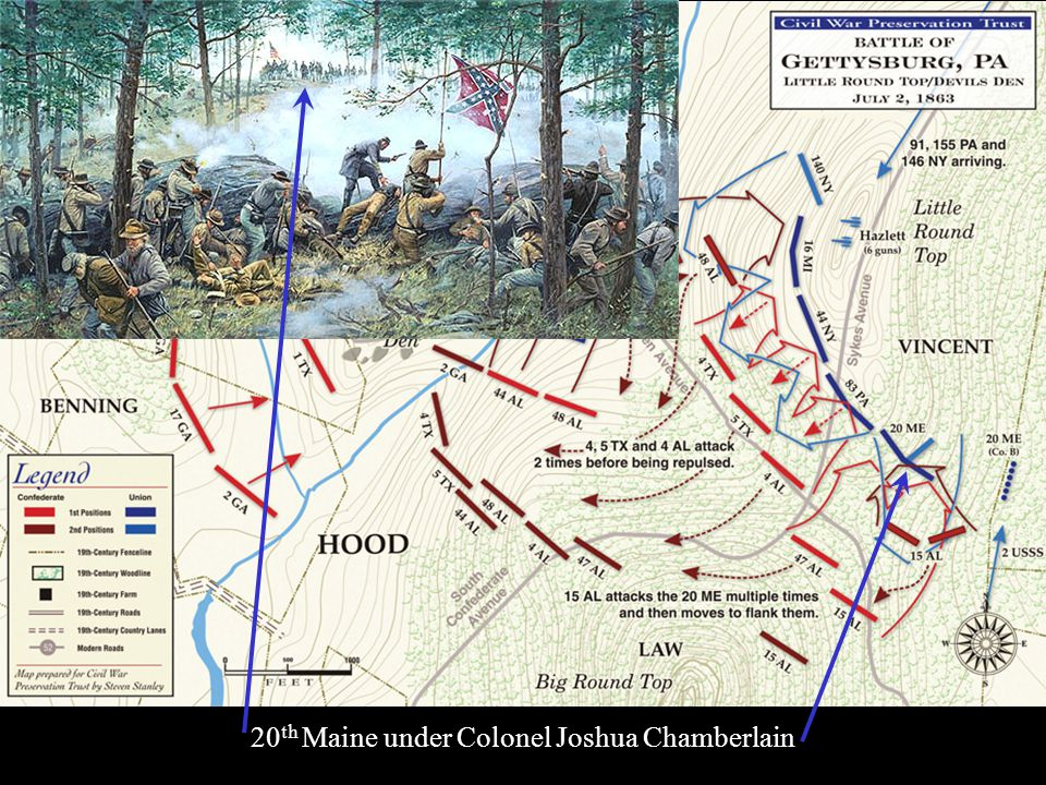 He told one story to illustrate - the 20th Maine, a Union Infantry Regiment, was on the left flank of the Union line, and that was all there was to ho