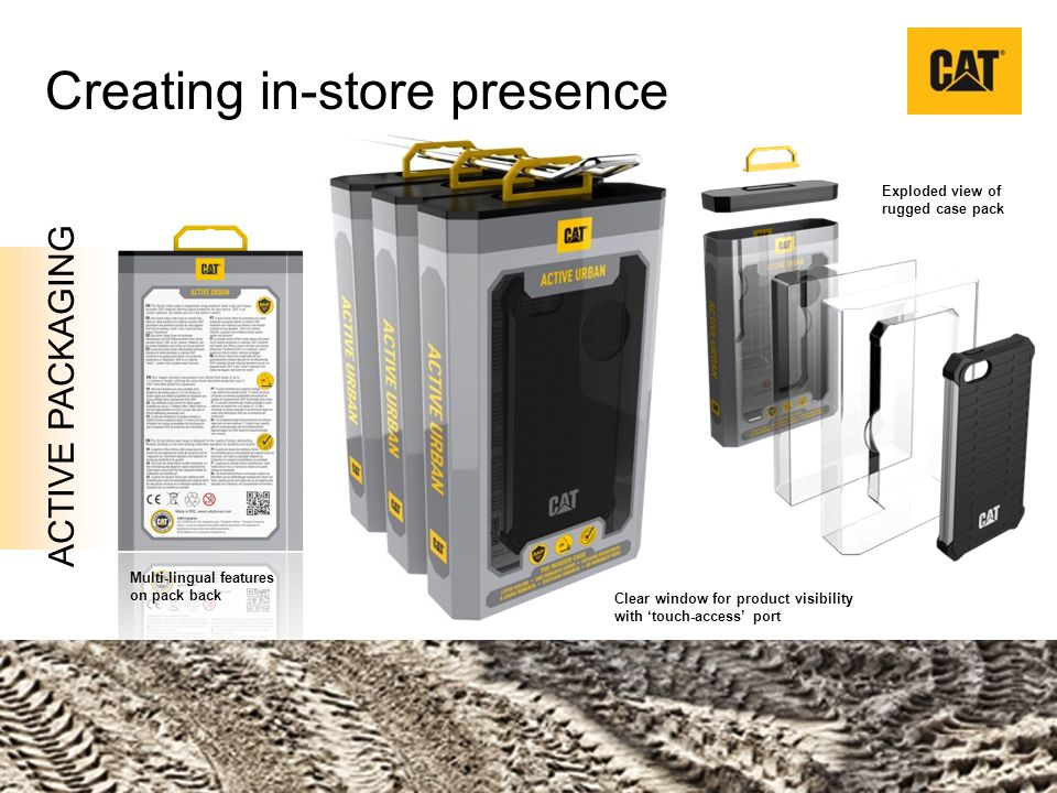 ACTIVE PACKAGING Creating in-store presence Multi-lingual features on pack back Clear window for product visibility with touch-access port Exploded vi