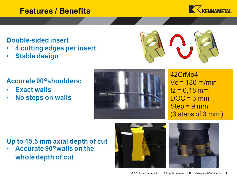 Screw-On End Mills © 2013 Kennametal Inc. l All rights reserved. l Proprietary and Confidential l 3