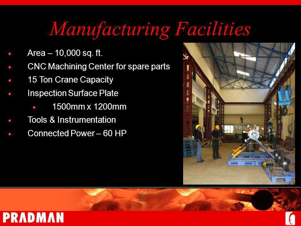 Manufacturing Facilities Area – 10,000 sq. ft.