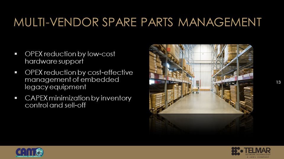 MULTI-VENDOR SPARE PARTS MANAGEMENT OPEX reduction by low-cost hardware support OPEX reduction by cost-effective management of embedded legacy equipment CAPEX minimization by inventory control and sell-off 13