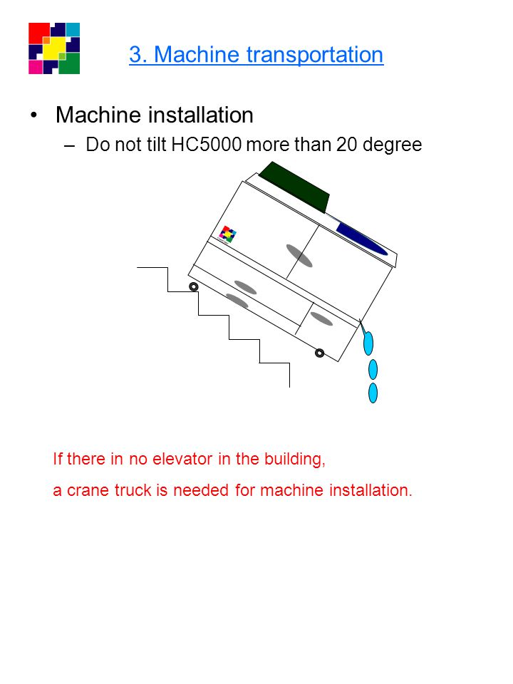 3. Machine transportation Machine installation –Do not tilt HC5000 more than 20 degree If there in no elevator in the building, a crane truck is neede