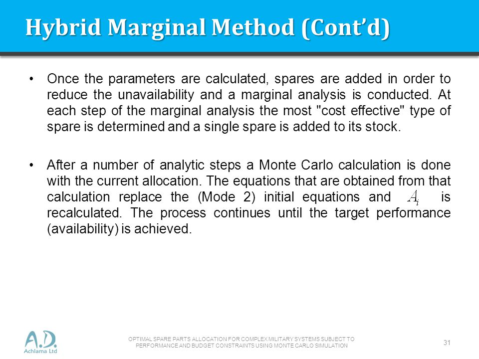 Hybrid Marginal Method (Contd) Once the parameters are calculated, spares are added in order to reduce the unavailability and a marginal analysis is conducted.