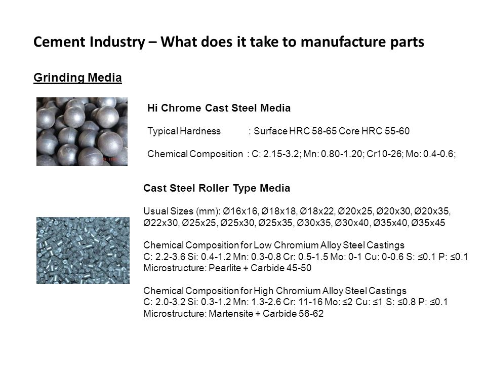 Cement Industry – What does it take to manufacture parts Grinding Media Hi Chrome Cast Steel Media Typical Hardness : Surface HRC 58-65 Core HRC 55-60 Chemical Composition : C: 2.15-3.2; Mn: 0.80-1.20; Cr10-26; Mo: 0.4-0.6; Cast Steel Roller Type Media Usual Sizes (mm): Ø16x16, Ø18x18, Ø18x22, Ø20x25, Ø20x30, Ø20x35, Ø22x30, Ø25x25, Ø25x30, Ø25x35, Ø30x35, Ø30x40, Ø35x40, Ø35x45 Chemical Composition for Low Chromium Alloy Steel Castings C: 2.2-3.6 Si: 0.4-1.2 Mn: 0.3-0.8 Cr: 0.5-1.5 Mo: 0-1 Cu: 0-0.6 S: 0.1 P: 0.1 Microstructure: Pearlite + Carbide 45-50 Chemical Composition for High Chromium Alloy Steel Castings C: 2.0-3.2 Si: 0.3-1.2 Mn: 1.3-2.6 Cr: 11-16 Mo: 2 Cu: 1 S: 0.8 P: 0.1 Microstructure: Martensite + Carbide 56-62