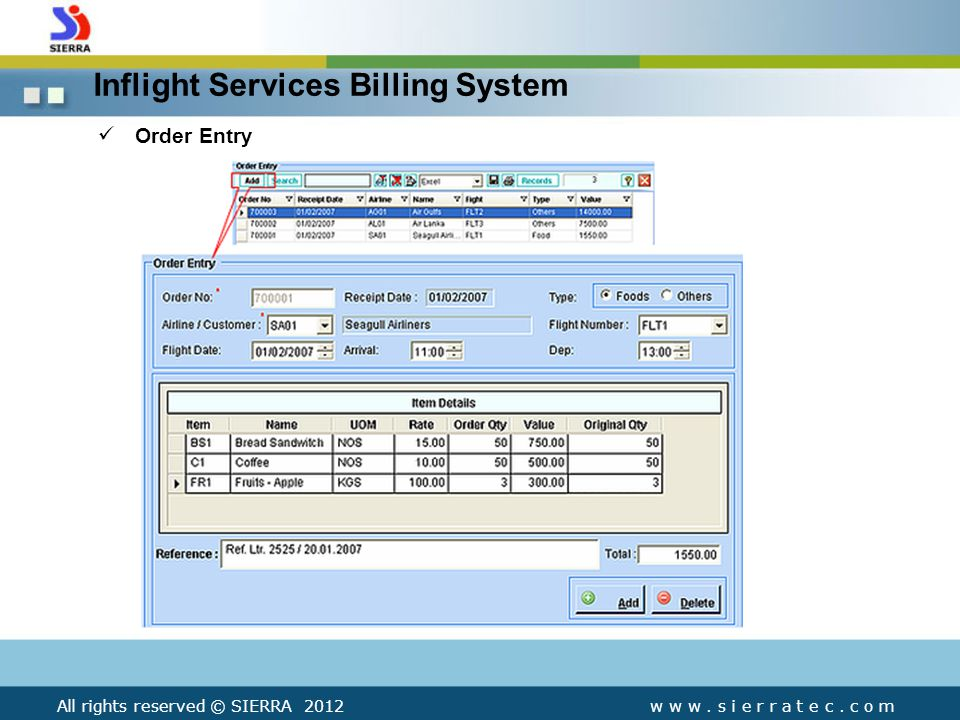 Inflight Services Billing System Order Entry All rights reserved © SIERRA 2012w w w.