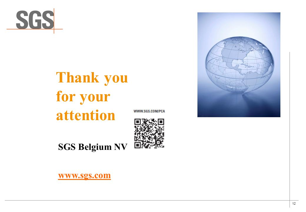 12 SGS Belgium NV www.sgs.com Thank you for your attention