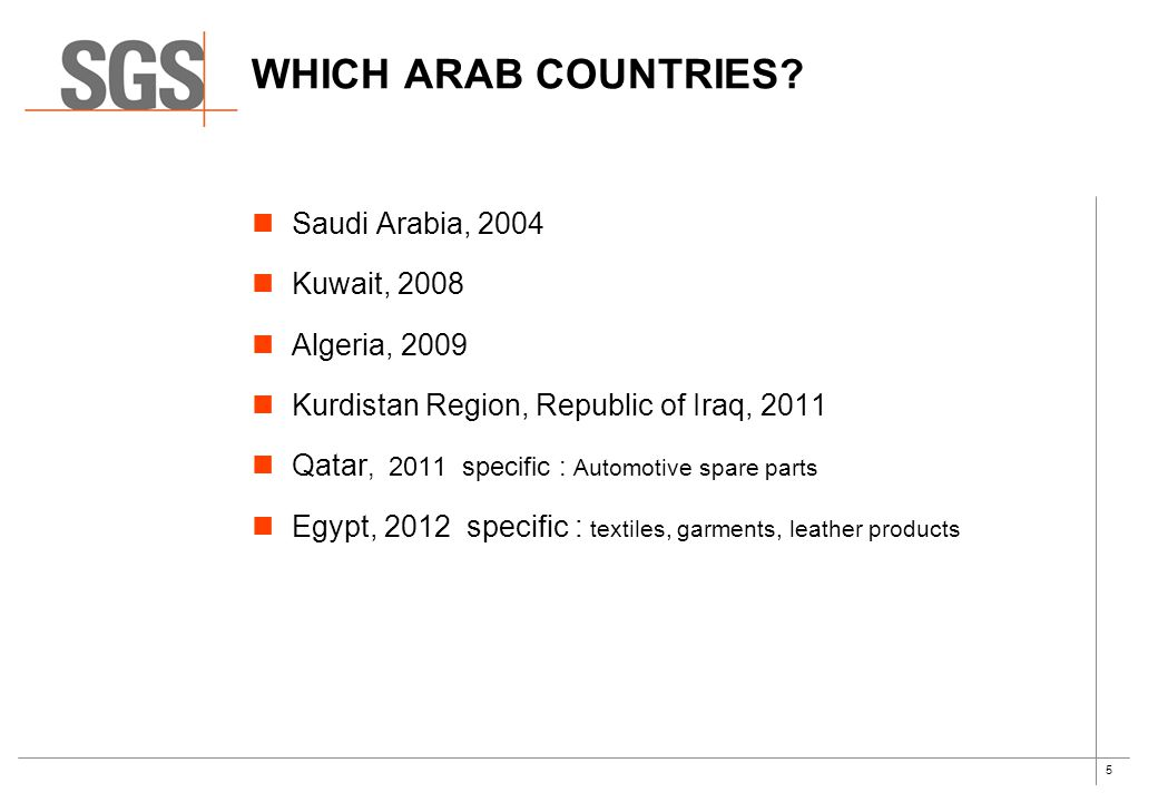 5 Saudi Arabia, 2004 Kuwait, 2008 Algeria, 2009 Kurdistan Region, Republic of Iraq, 2011 Qatar, 2011 specific : Automotive spare parts Egypt, 2012 specific : textiles, garments, leather products WHICH ARAB COUNTRIES?