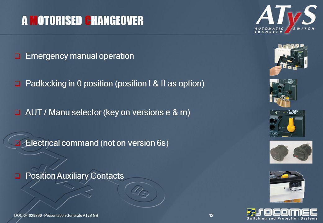 DOC 04 029896 - Présentation Générale ATyS GB 12 Emergency manual operation AUT / Manu selector (key on versions e & m) Padlocking in 0 position (posi