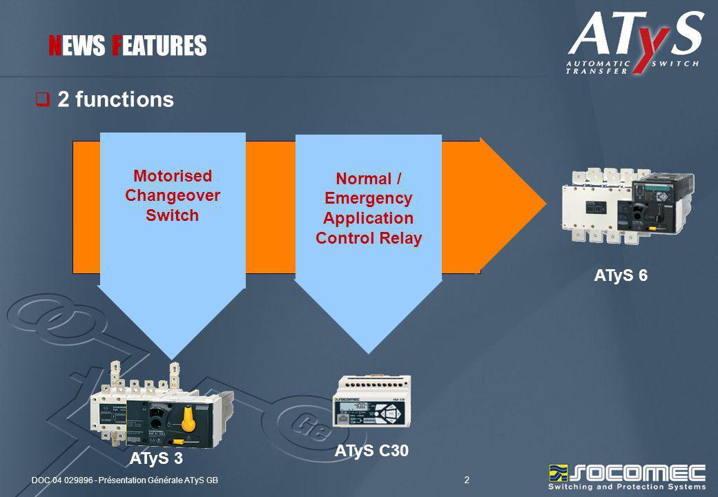 DOC 04 029896 - Présentation Générale ATyS GB 2 2 functions ATyS 3 ATyS C30 ATyS 6 NEWS FEATURES Normal / Emergency Application Control Relay Motorise