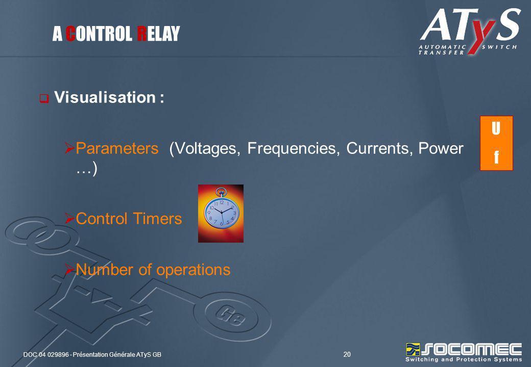 DOC 04 029896 - Présentation Générale ATyS GB 20 Visualisation : Parameters (Voltages, Frequencies, Currents, Power …) Control Timers Number of operat