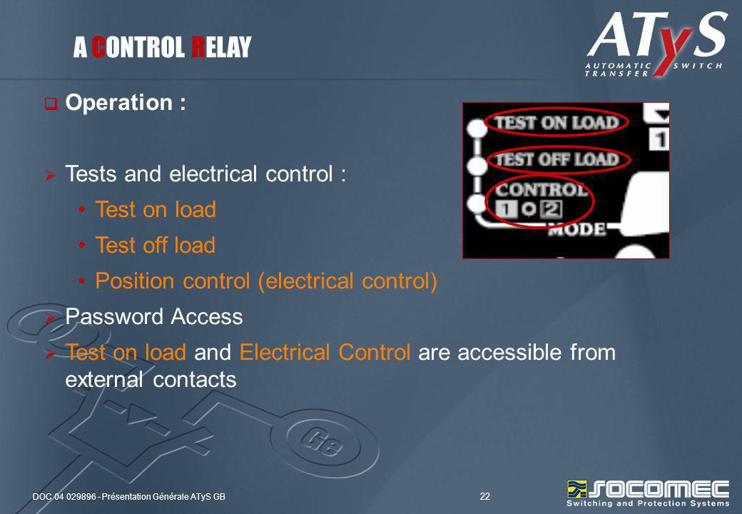 DOC 04 029896 - Présentation Générale ATyS GB 22 Operation : Tests and electrical control : Test on load Test off load Position control (electrical co