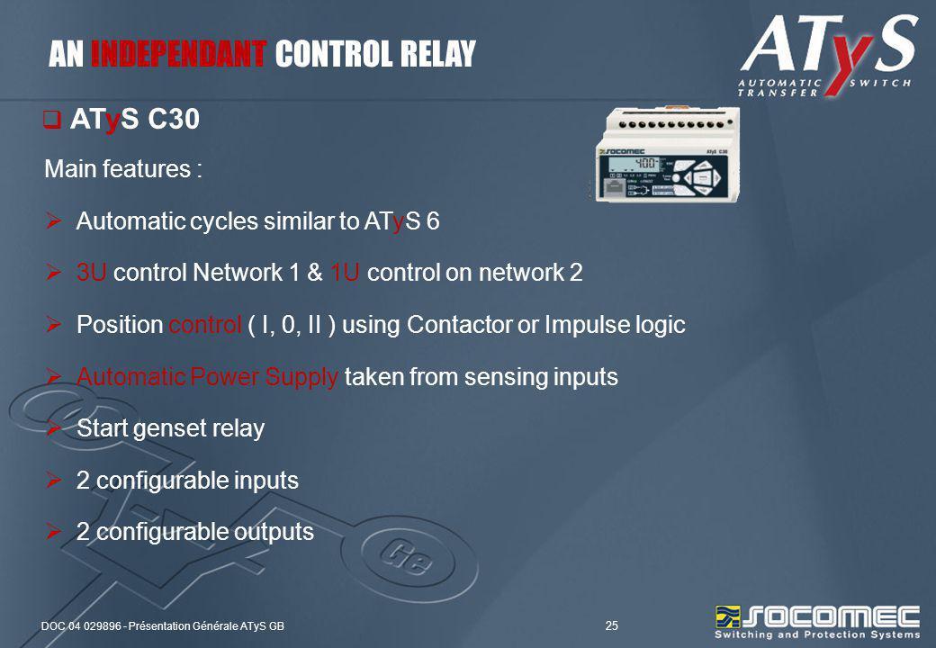 DOC 04 029896 - Présentation Générale ATyS GB 25 Main features : Automatic cycles similar to ATyS 6 3U control Network 1 & 1U control on network 2 Pos