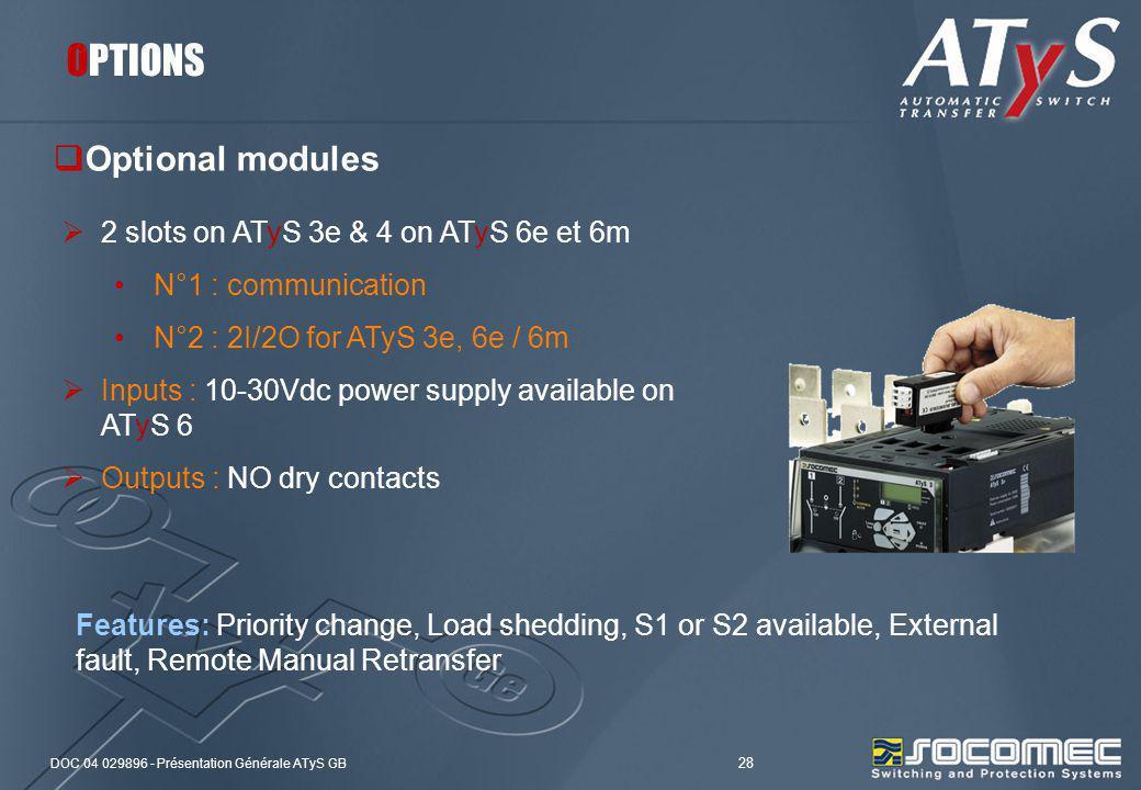 DOC 04 029896 - Présentation Générale ATyS GB 28 Optional modules OPTIONS 2 slots on ATyS 3e & 4 on ATyS 6e et 6m N°1 : communication N°2 : 2I/2O for