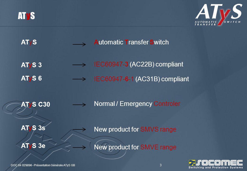 DOC 04 029896 - Présentation Générale ATyS GB 3 ATyS 3 IEC60947-3 (AC22B) compliant ATyS 6 IEC60947-6-1 (AC31B) compliant ATyS C30 Normal / Emergency