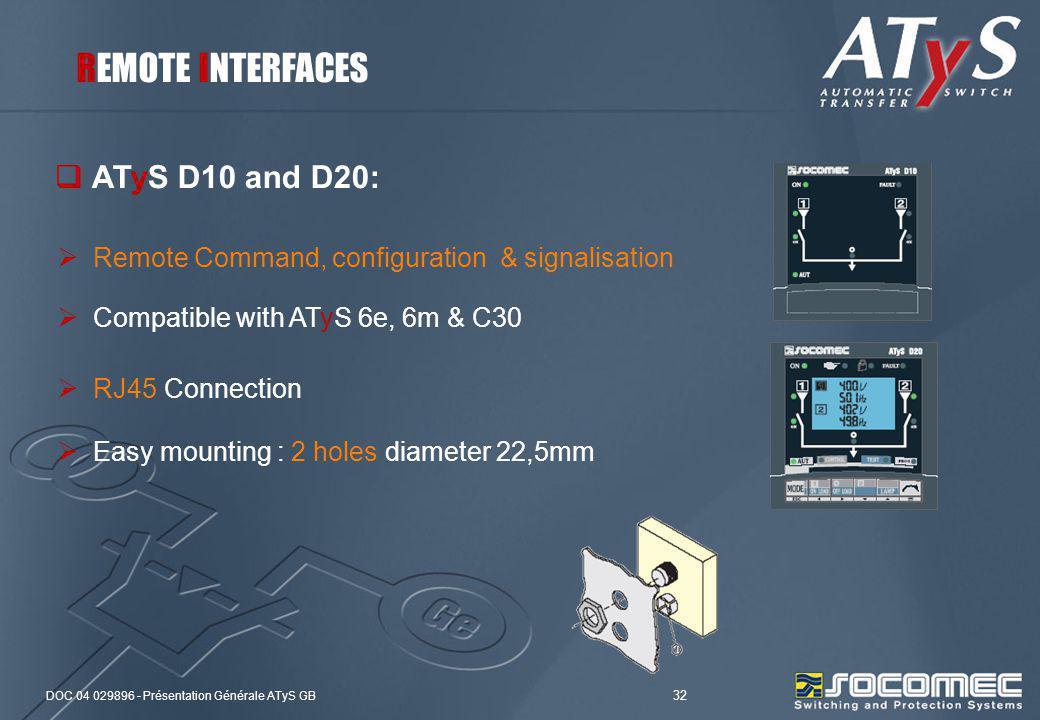 DOC 04 029896 - Présentation Générale ATyS GB 32 ATyS D10 and D20: Remote Command, configuration & signalisation Compatible with ATyS 6e, 6m & C30 RJ4