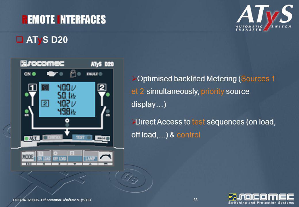 DOC 04 029896 - Présentation Générale ATyS GB 33 ATyS D20 Optimised backlited Metering (Sources 1 et 2 simultaneously, priority source display…) Direc