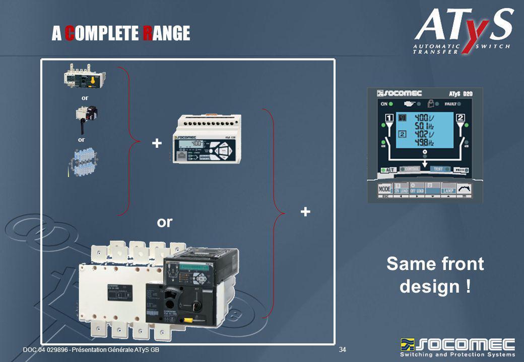 DOC 04 029896 - Présentation Générale ATyS GB 34 Same front design ! or + + A COMPLETE RANGE