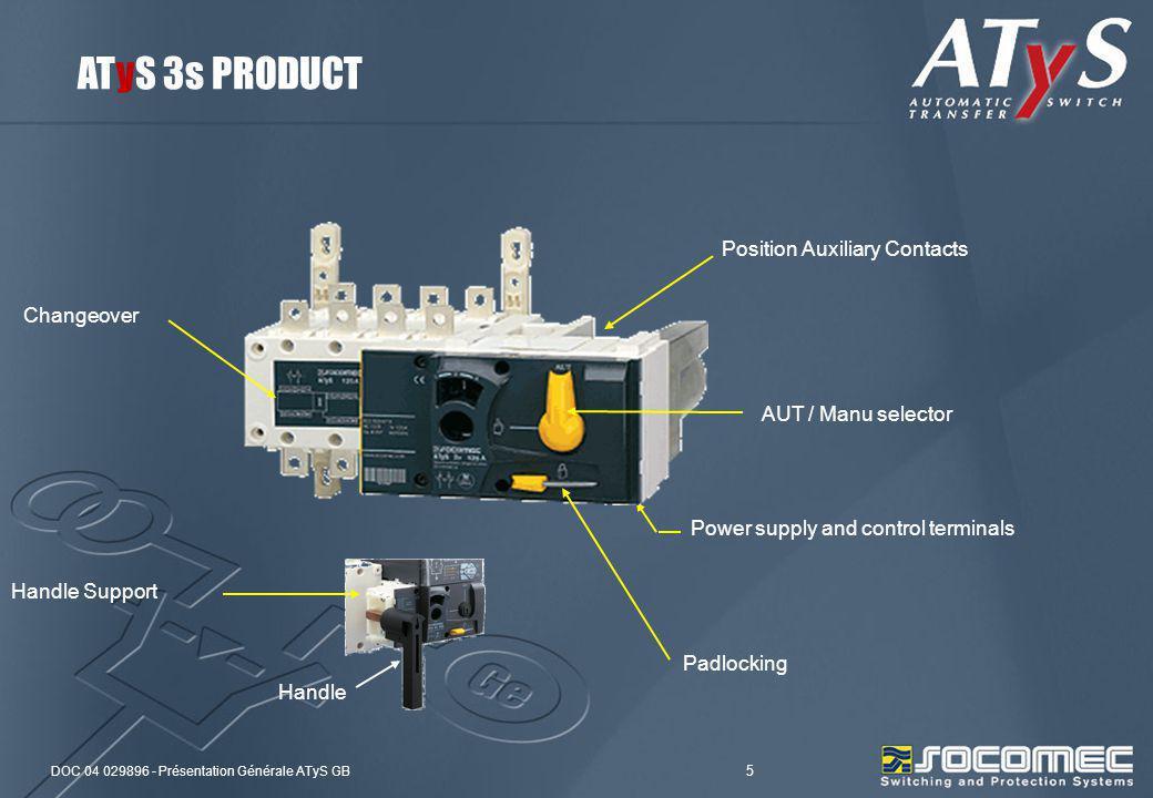 DOC 04 029896 - Présentation Générale ATyS GB 5 Changeover Position Auxiliary Contacts Power supply and control terminals AUT / Manu selector Padlocki