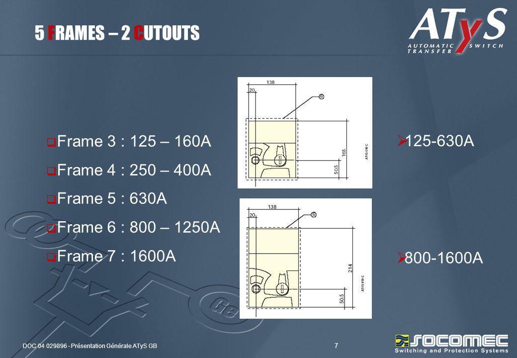 DOC 04 029896 - Présentation Générale ATyS GB 7 5 FRAMES – 2 CUTOUTS Frame 3 : 125 – 160A Frame 4 : 250 – 400A Frame 5 : 630A Frame 6 : 800 – 1250A Fr