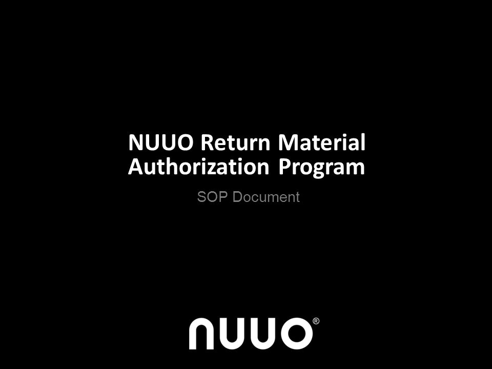 NUUO Return Material Authorization Program SOP Document