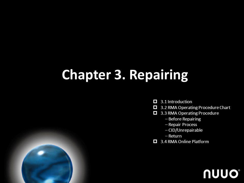 Chapter 3. Repairing 3.1 Introduction 3.2 RMA Operating Procedure Chart 3.3 RMA Operating Procedure – Before Repairing – Repair Process – CID/Unrepair