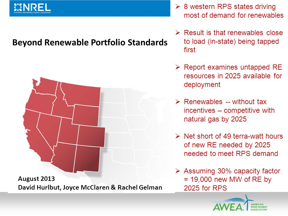 Beyond Renewable Portfolio Standards August 2013 David Hurlbut, Joyce McClaren & Rachel Gelman 8 western RPS states driving most of demand for renewables Result is that renewables close to load (in-state) being tapped first Report examines untapped RE resources in 2025 available for deployment Renewables -- without tax incentives – competitive with natural gas by 2025 Net short of 49 terra-watt hours of new RE needed by 2025 needed to meet RPS demand Assuming 30% capacity factor = 19,000 new MW of RE by 2025 for RPS
