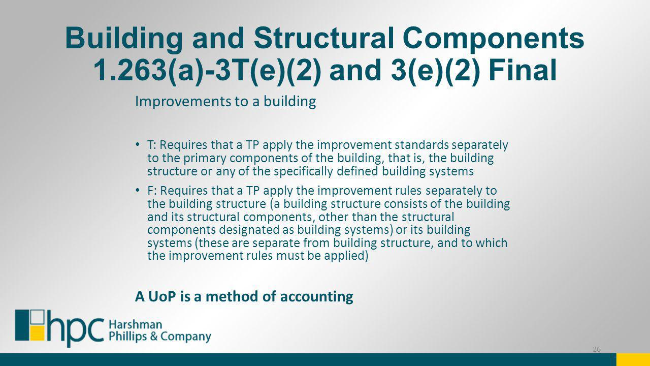 Building and Structural Components 1.263(a)-3T(e)(2) and 3(e)(2) Final Improvements to a building T: Requires that a TP apply the improvement standard