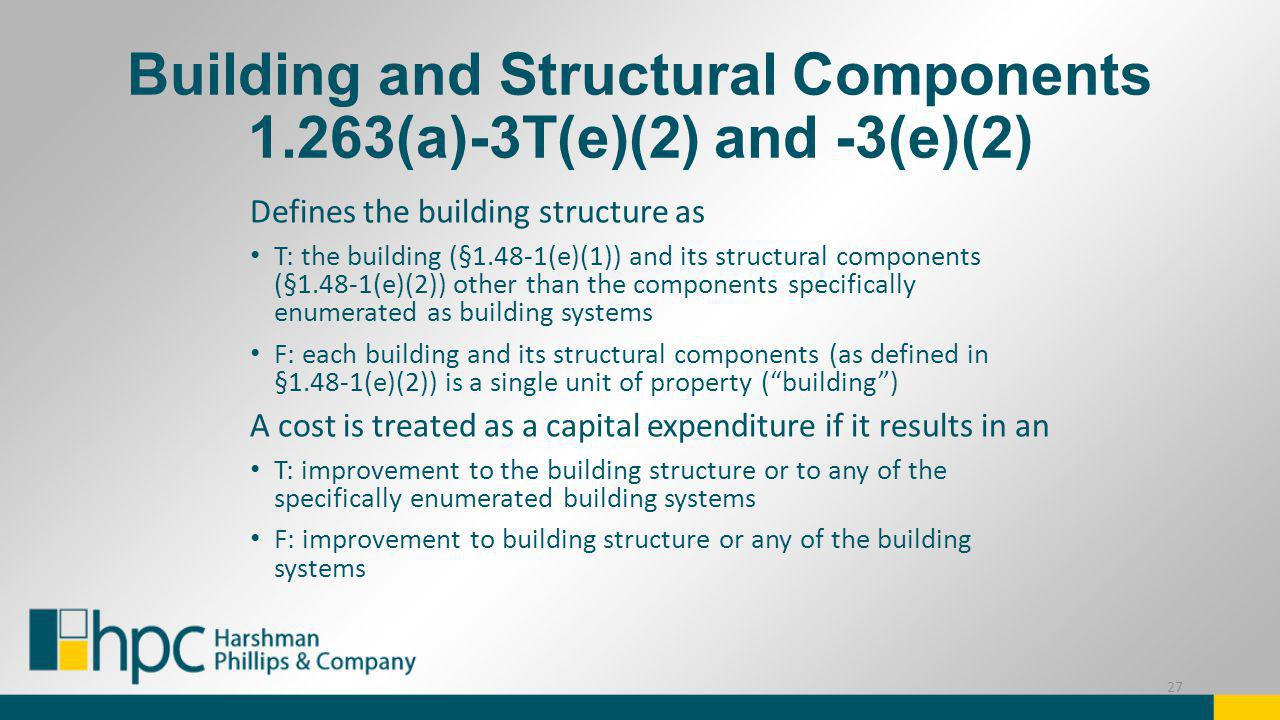 Building and Structural Components 1.263(a)-3T(e)(2) and -3(e)(2) Defines the building structure as T: the building (§1.48-1(e)(1)) and its structural