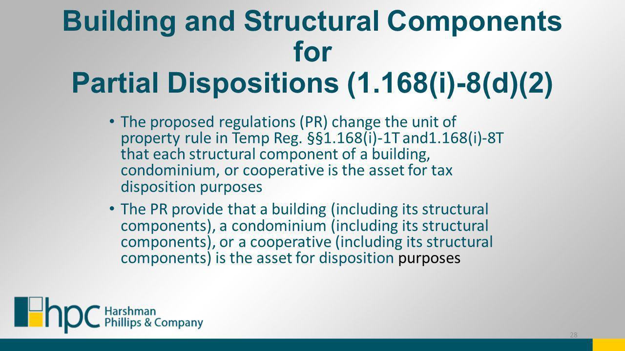 Building and Structural Components for Partial Dispositions (1.168(i)-8(d)(2) The proposed regulations (PR) change the unit of property rule in Temp R