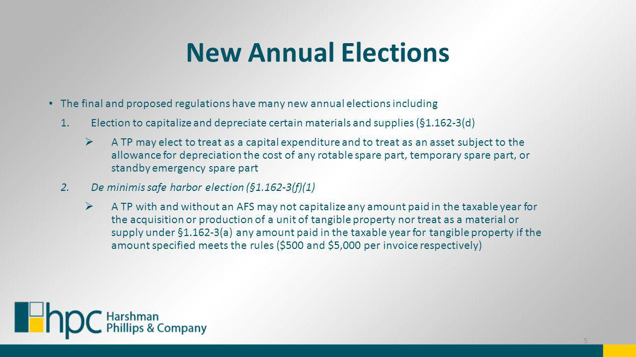 New Annual Elections The final and proposed regulations have many new annual elections including 1.Election to capitalize and depreciate certain mater