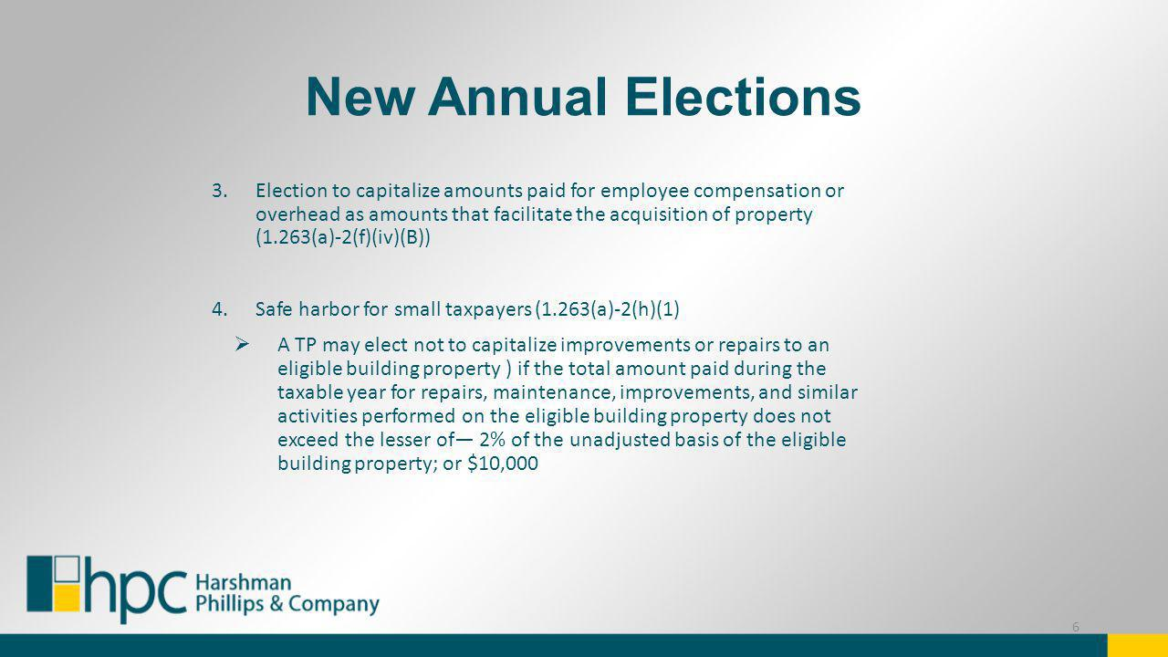 New Annual Elections 3.Election to capitalize amounts paid for employee compensation or overhead as amounts that facilitate the acquisition of propert