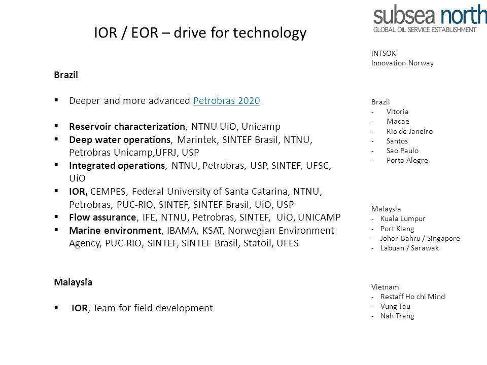 IOR / EOR – drive for technology Brazil Deeper and more advanced Petrobras 2020Petrobras 2020 Reservoir characterization, NTNU UiO, Unicamp Deep water