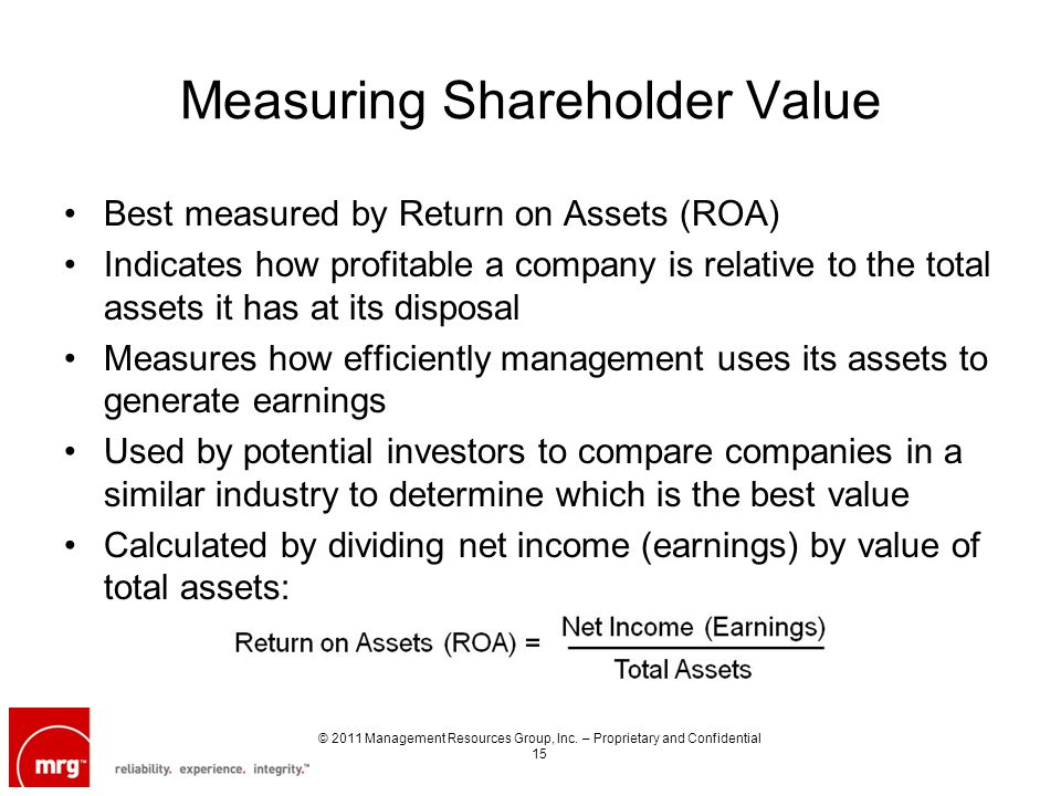 Measuring Shareholder Value Best measured by Return on Assets (ROA) Indicates how profitable a company is relative to the total assets it has at its disposal Measures how efficiently management uses its assets to generate earnings Used by potential investors to compare companies in a similar industry to determine which is the best value Calculated by dividing net income (earnings) by value of total assets: © 2011 Management Resources Group, Inc.