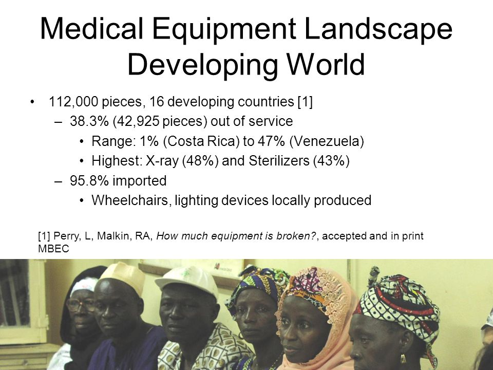 Medical Equipment Landscape Developing World 112,000 pieces, 16 developing countries [1] –38.3% (42,925 pieces) out of service Range: 1% (Costa Rica) to 47% (Venezuela) Highest: X-ray (48%) and Sterilizers (43%) –95.8% imported Wheelchairs, lighting devices locally produced [1] Perry, L, Malkin, RA, How much equipment is broken , accepted and in print MBEC