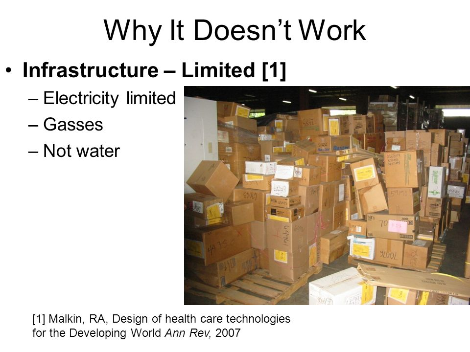 Why It Doesnt Work Infrastructure – Limited [1] –Electricity limited –Gasses –Not water [1] Malkin, RA, Design of health care technologies for the Developing World Ann Rev, 2007