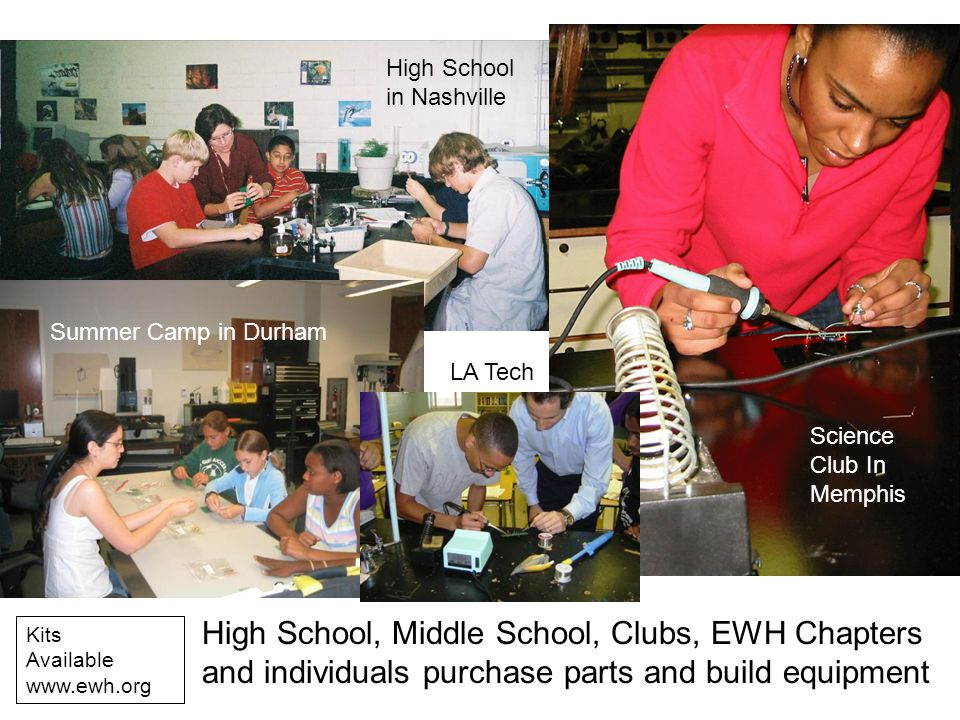 High School, Middle School, Clubs, EWH Chapters and individuals purchase parts and build equipment High School in Nashville Science Club In Memphis Su