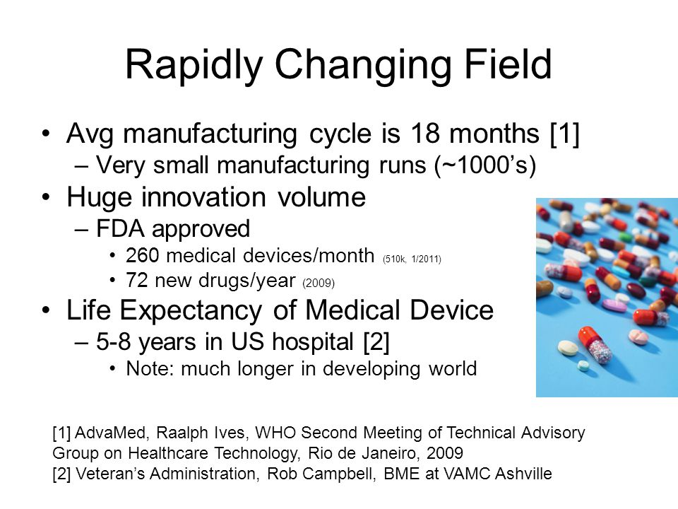 Rapidly Changing Field Avg manufacturing cycle is 18 months [1] –Very small manufacturing runs (~1000s) Huge innovation volume –FDA approved 260 medical devices/month (510k, 1/2011) 72 new drugs/year (2009) Life Expectancy of Medical Device –5-8 years in US hospital [2] Note: much longer in developing world [1] AdvaMed, Raalph Ives, WHO Second Meeting of Technical Advisory Group on Healthcare Technology, Rio de Janeiro, 2009 [2] Veterans Administration, Rob Campbell, BME at VAMC Ashville