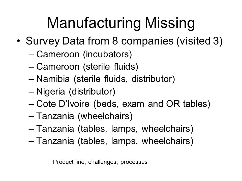 Manufacturing Missing Survey Data from 8 companies (visited 3) –Cameroon (incubators) –Cameroon (sterile fluids) –Namibia (sterile fluids, distributor) –Nigeria (distributor) –Cote DIvoire (beds, exam and OR tables) –Tanzania (wheelchairs) –Tanzania (tables, lamps, wheelchairs) Product line, challenges, processes