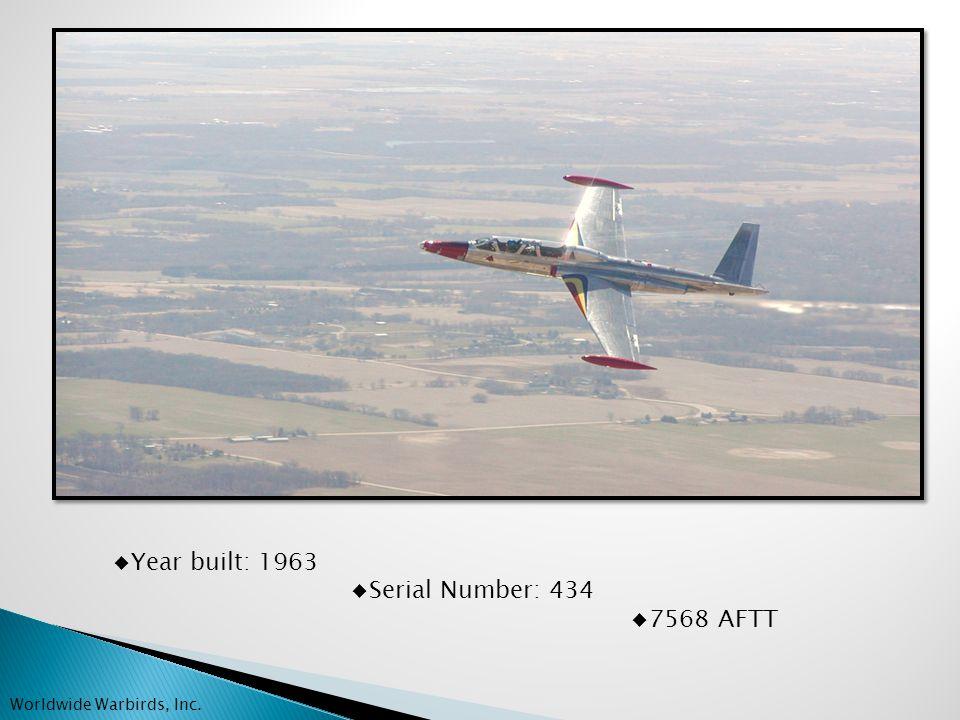 AIRFRAME 7568 TTAF 2270 TTSMOH Strobe / nav light system Baggage bin / nose compartment Tip Tank fuel jettison Worldwide Warbirds, Inc.