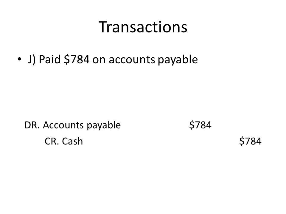 Transactions J) Paid $784 on accounts payable DR. Accounts payable$784 CR. Cash$784