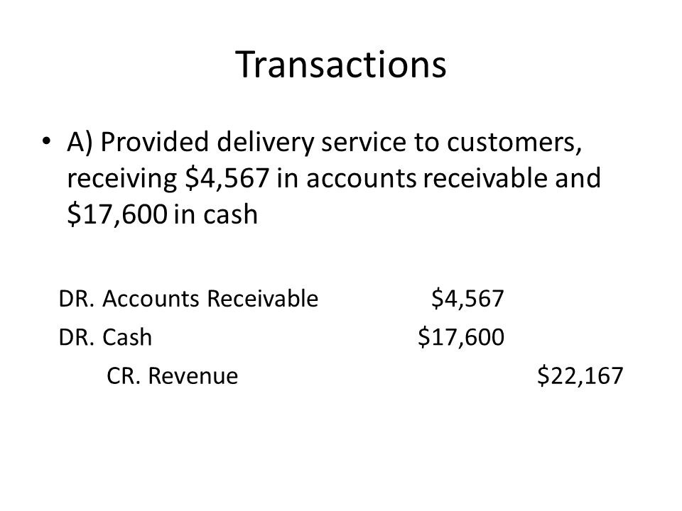 Transactions A) Provided delivery service to customers, receiving $4,567 in accounts receivable and $17,600 in cash DR. Accounts Receivable$4,567 DR.