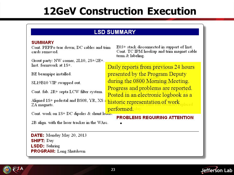 23 12GeV Construction Execution Daily reports from previous 24 hours presented by the Program Deputy during the 0800 Morning Meeting. Progress and pro