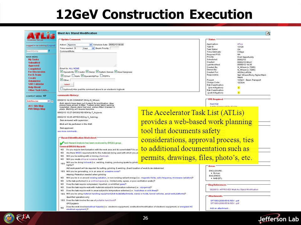 26 12GeV Construction Execution The Accelerator Task List (ATLis) provides a web-based work planning tool that documents safety considerations, approval process, ties to additional documentation such as permits, drawings, files, photos, etc.