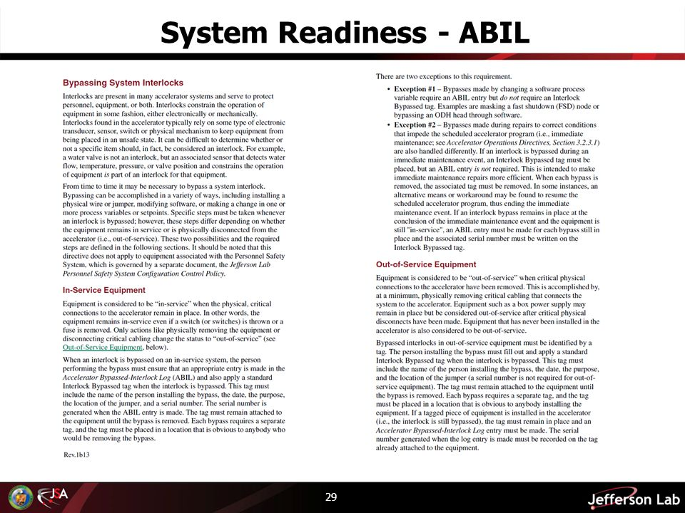 System Readiness - ABIL 29