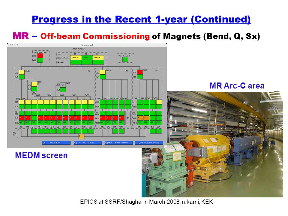 EPICS at SSRF/Shaghai in March.2008, n.kami, KEK MR – Off-beam Commissioning of Magnets (Bend, Q, Sx) Progress in the Recent 1-year (Continued) MR Arc-C area MEDM screen