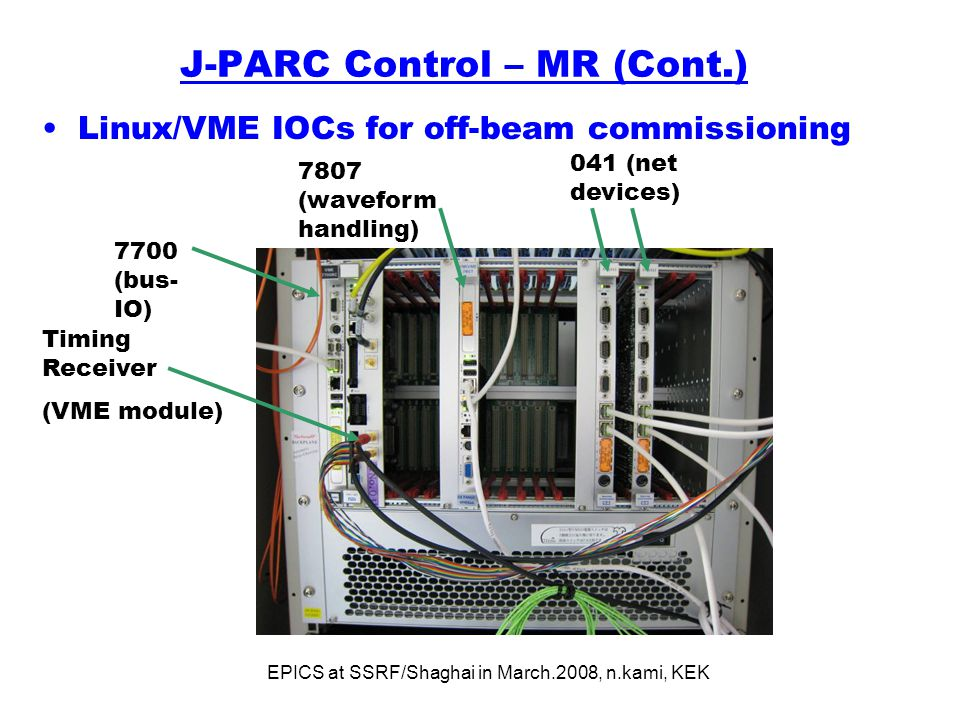 EPICS at SSRF/Shaghai in March.2008, n.kami, KEK J-PARC Control – MR (Cont.) Linux/VME IOCs for off-beam commissioning 7807 (waveform handling) 7700 (bus- IO) 041 (net devices) Timing Receiver (VME module)