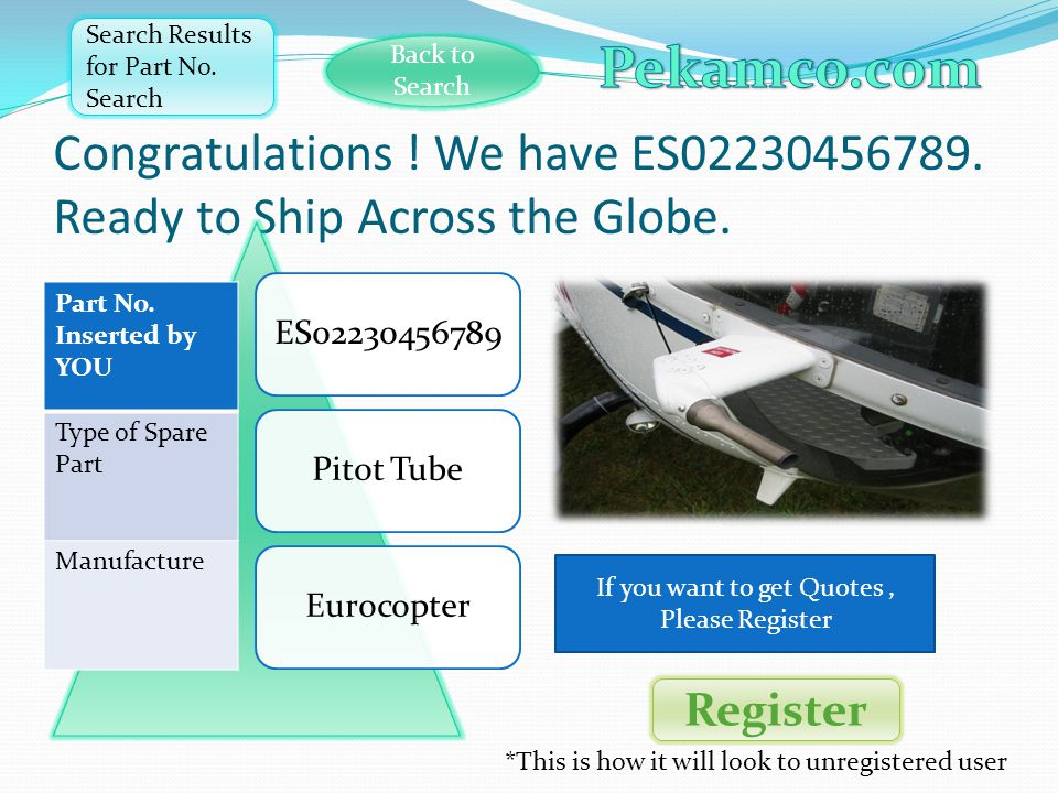 Congratulations . We have ES02230456789. Ready to Ship Across the Globe.