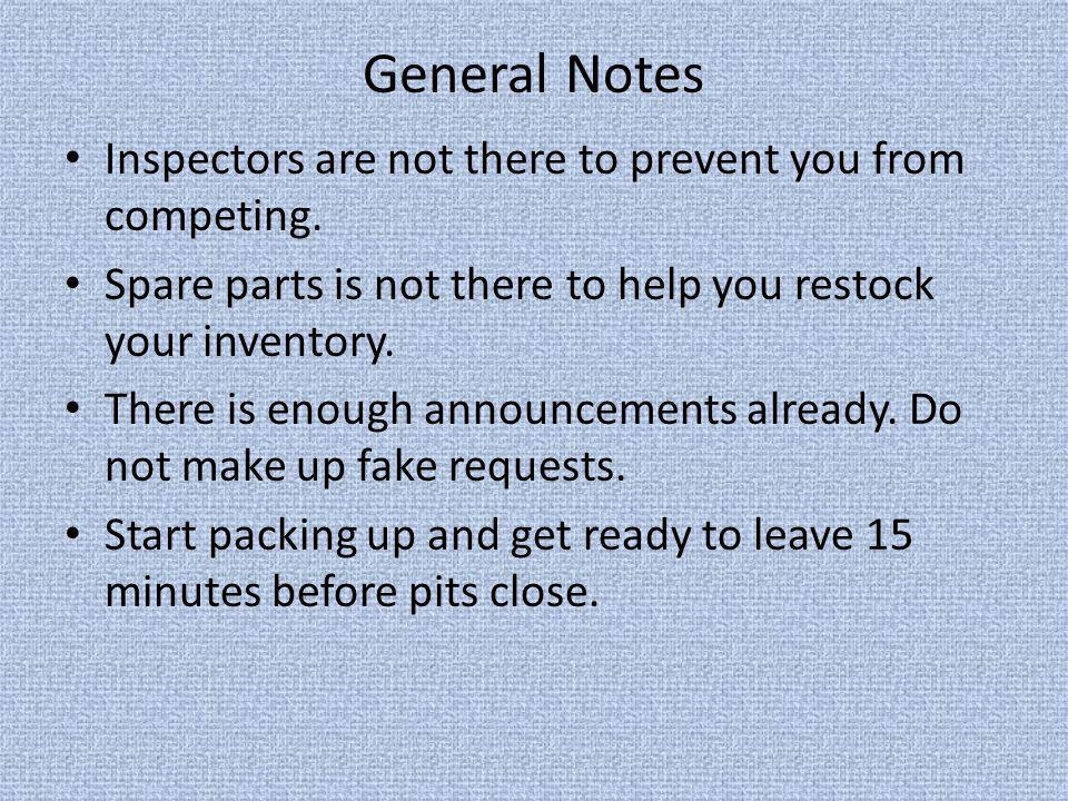 General Notes Inspectors are not there to prevent you from competing. Spare parts is not there to help you restock your inventory. There is enough ann