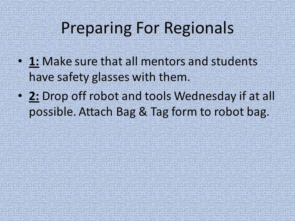 Preparing For Regionals 1: Make sure that all mentors and students have safety glasses with them.